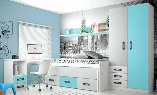 Dormitorio juvenil en blanco, gris y azul agua