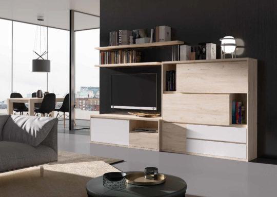 Composición de muebles de salón para zona de televisión