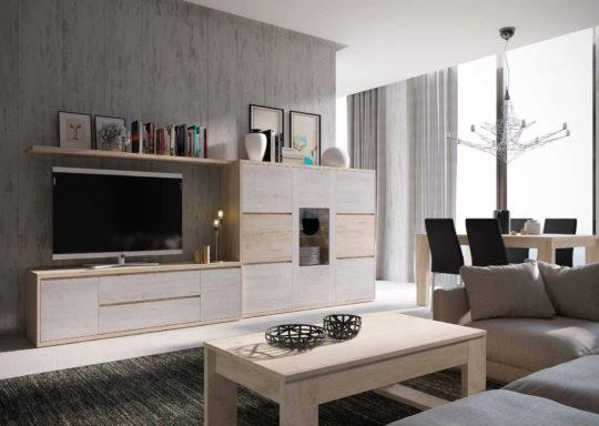 Composición de salón de estilo moderno y recto en roble y nórdico