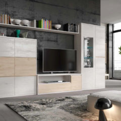 Composición de salón de estilo moderno con líneas rectas y limpias