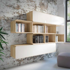 Estantería de diseño para salón en blanco y roble