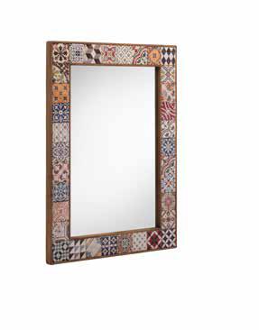 Espejo decorativo de madera y cerámica