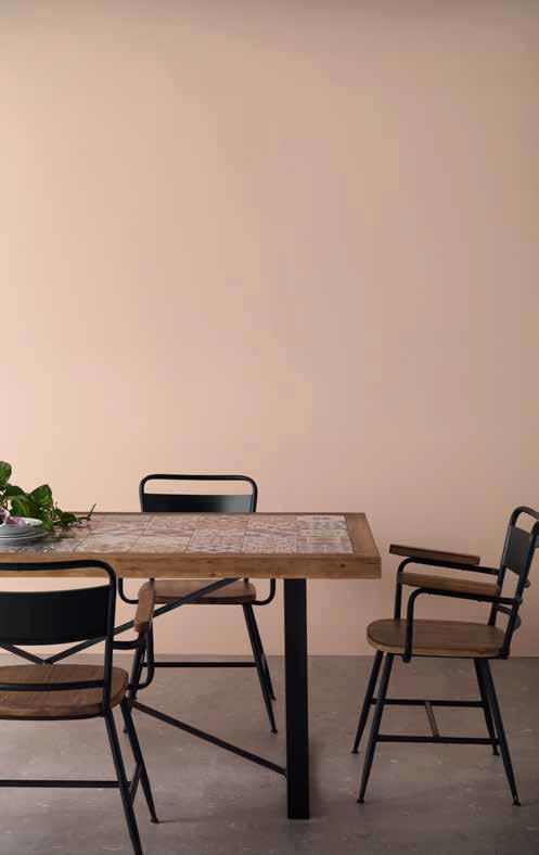 Conjunto de mesa y sillas para comedor cerámica y madera