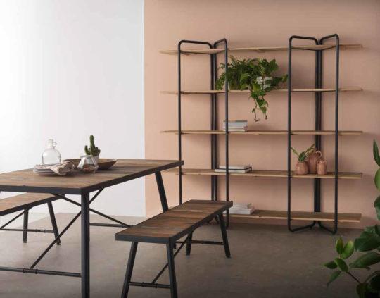Conjunto de mesa con silla y estantería para jardín