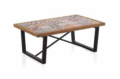 mesa de centro madera y cerámica