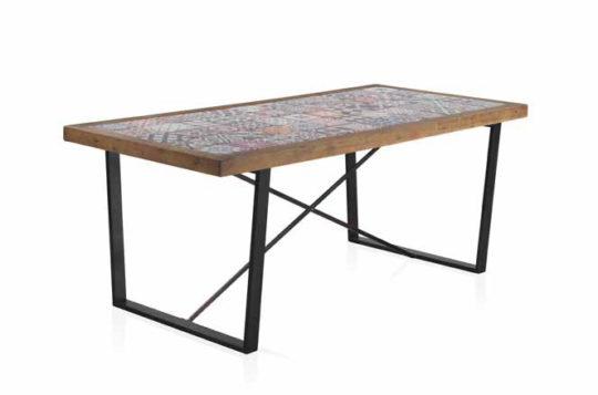 Mesa de comedor salón cerámica madera