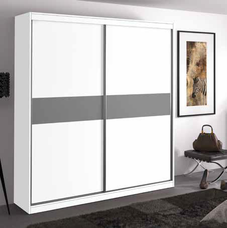 Armario con puertas correderas en blanco y gris