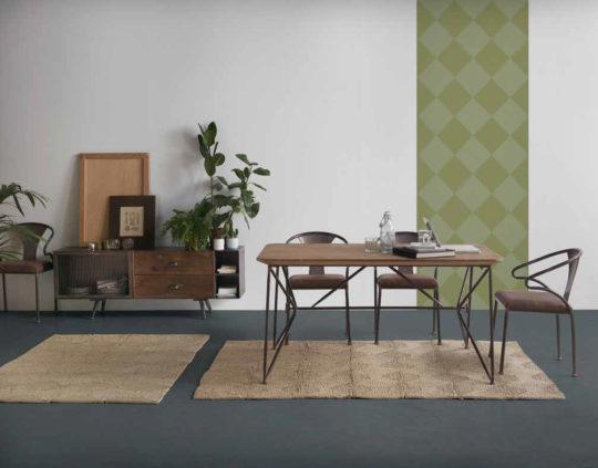 Comedor retro con mobiliario muy moderno