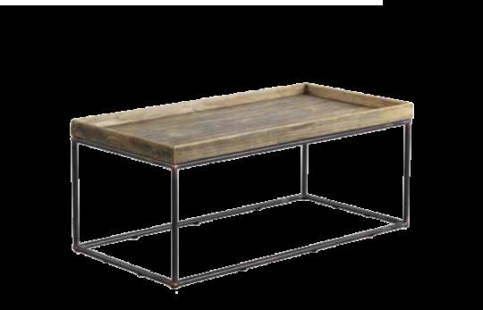 Mesa de centro con pies metálicas y tablero de madera