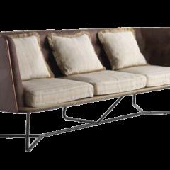 Sofá de tres plazas con Cojines en Beig y patas metálicas