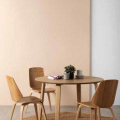 Conjunto de comedor redonda madera roble y silla