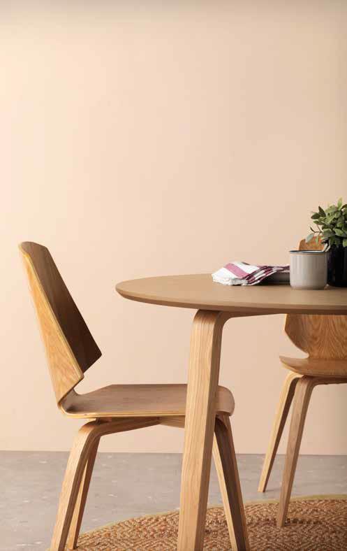 Conjunto de comedor redonda madera roble y silla 4