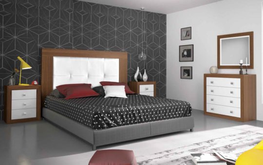 Dormitorio de Matrimonio en nogal y blanco
