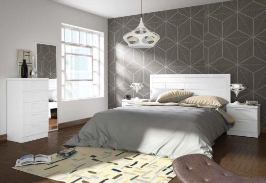 Composición de Dormitorio de Matrimonio en color blanco