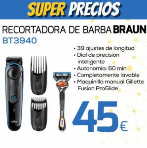 Recortadora de barba BRAUN BT3940