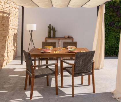 conjunto mesa silla jardín